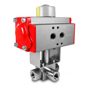 Augstspiediena trīsceļu lodveida vārsts 1/4 collu SS304 HB23 ar pneimatisko pievadu AT52