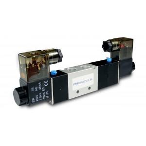Solenoīda vārsts 5/3 4V430C 1/2 collas pneimatiskajiem pievadiem 230 V vai 12 V, 24 V