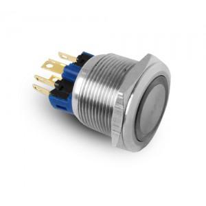 Poga 22 mm nerūsējošā tērauda IP65 LED 230V vai 24V zilā mirklī