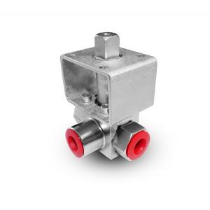 Augstspiediena trīsceļu lodveida krāns 3/8 collu SS304 HB23 montāžas plāksne ISO5211