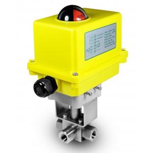 Augstspiediena trīsceļu lodveida vārsts 1/4 collu SS304 HB23 ar elektrisko pievadu A250