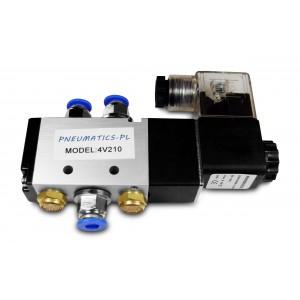 Solenoīda vārsts 5/2 4V210 1/4 collas pneimatiskajiem cilindriem + savienotājiem 8mm