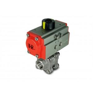 1/2 collu augstspiediena lodveida krāns DN15 PN125 ar pneimatisko pievadu AT40