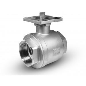 Nerūsējošā tērauda lodveida vārsts 2 1/2 collu DN65 PN40 stiprinājuma plāksne ISO5211