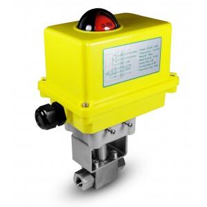Augstspiediena lodveida krāns 1/2 collu SS304 HB22 ar elektrisko pievadu A250