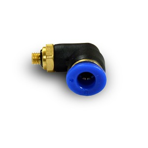 Leņķa spraudņa nipeļa šļūtene 4 mm vītne M5 PL04-M05