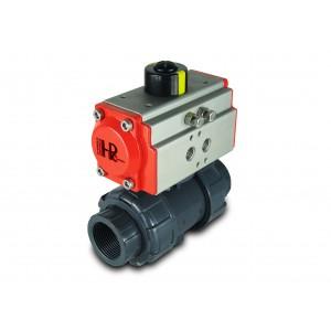 Lodveida vārsts UPVC 1 1/4 collu DN32 ar pneimatisko pievadu AT40
